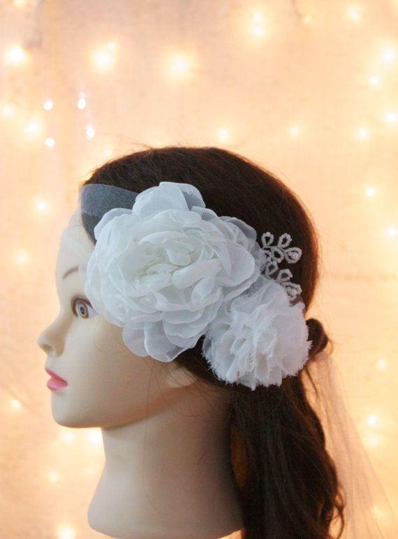 Organza and Chiffon Flower Tulle Headband, White or Ivory. Wedding headband, bridal accessory, Flower wedding hairpiece