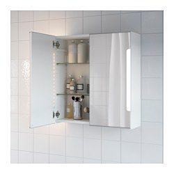 STORJORM, Spiegelschrank m. 2 Türen+int. Bel., 60x14x96 cm,