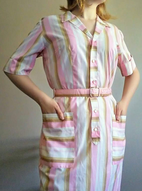 20% OFF! 60's Pastel Vertical Striped Shirtwaist Cotton Day Dress/ Belted Sheath Waitress Dress, Size S/M