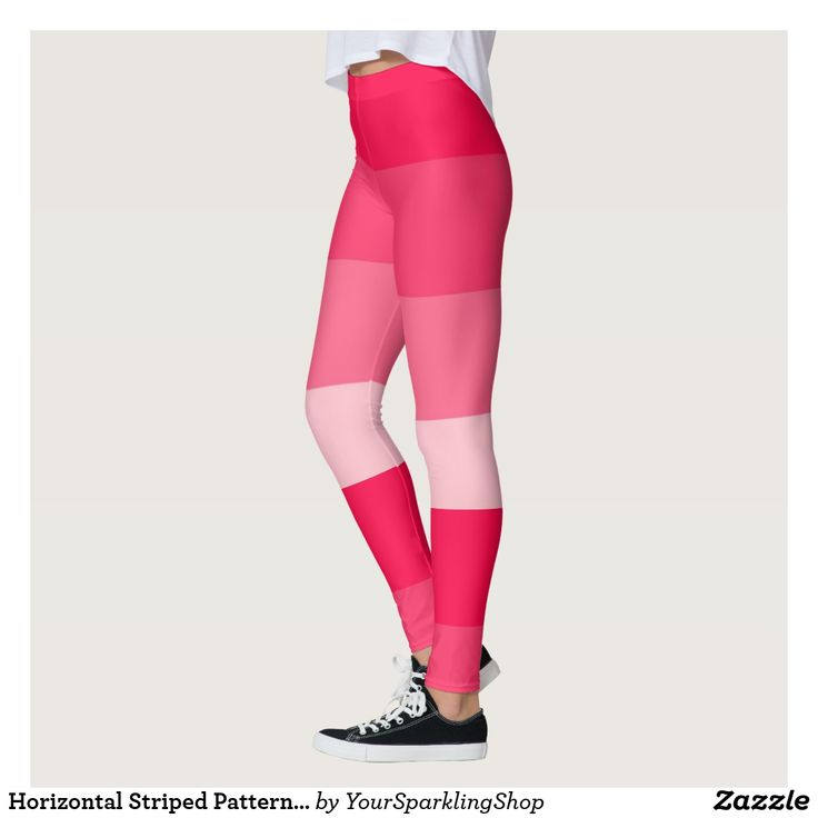 Horizontal Striped Pattern Pink Scarlet Gradient  #leggings