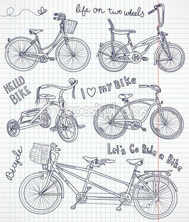 bicicletta d'epoca situato in notebook — Illustrazione Stock #12858696