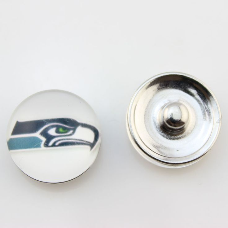 Wholesale 18MM Glass USA Football Team Seattle Seahawks Snap Button For Snaps Bracelets 20PCs/lot