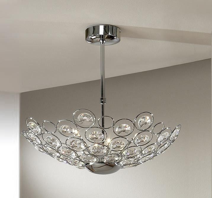 Lustra, Pendul elegant cu cristal fatetat, diam.55cm, inaltime reglabila, Luppo 463411G9 - Corpuri de iluminat, lustre, aplice