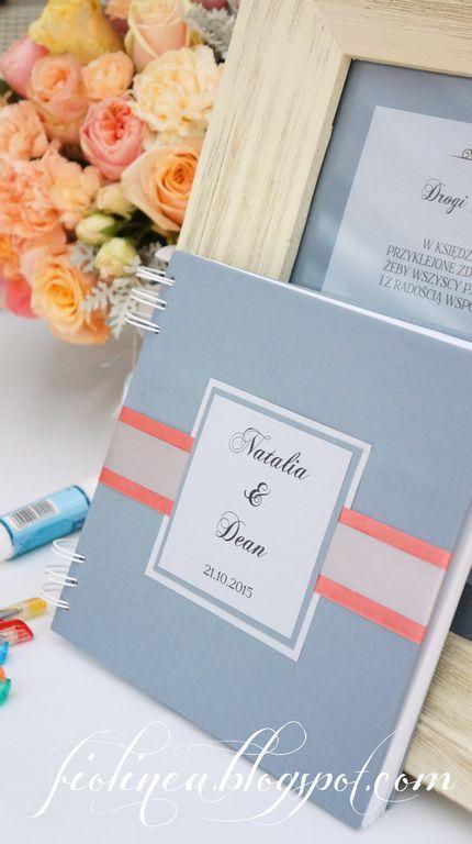 Fiolinea - Ślubna Galanteria Papiernicza: Szaro-koralowe wesele Natalii & Dean'a w Pałacu Wojanów