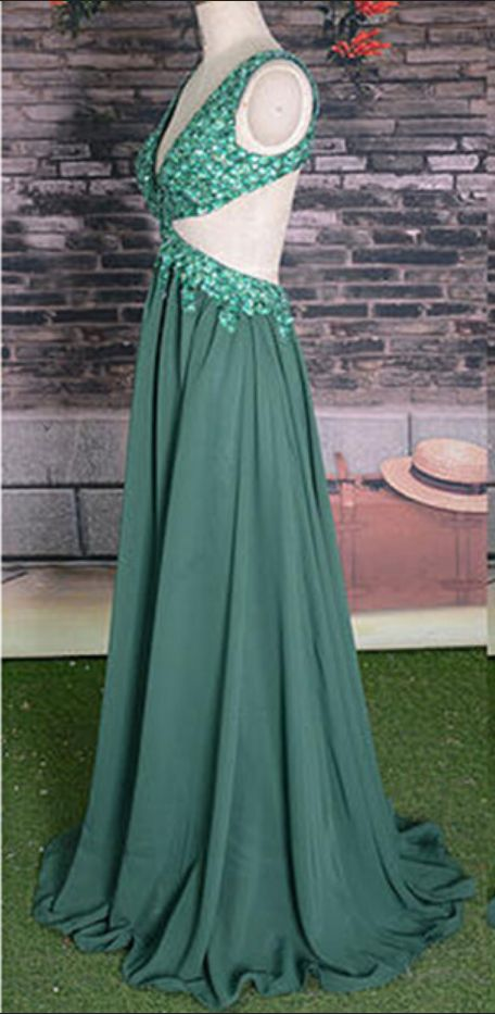 Backless ack Prom Dress, beaded geeen p[rom dress #prom #promdress #dress #eveningdress #evening #fashion #love #shopping #art #dress #women #mermaid #SEXY #SexyGirl #PromDresses
