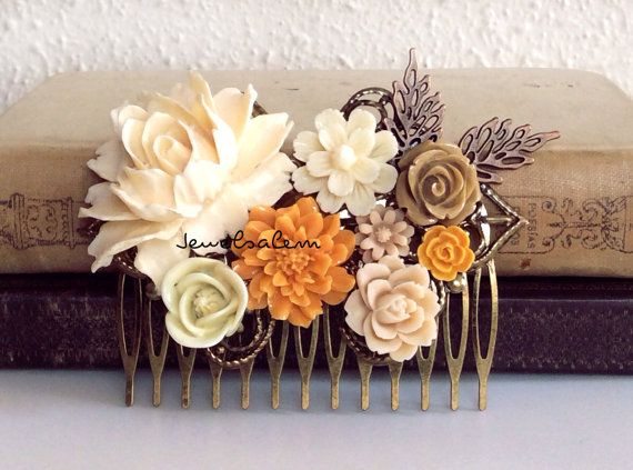 Hey, I found this really awesome Etsy listing at https://www.etsy.com/listing/181820018/ivory-wedding-hair-accessories-orange