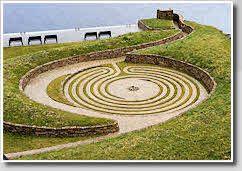 Modern turf labyrinth, St. Patrick's Purgatory, Lough Derg, Co. Donegal, Ireland