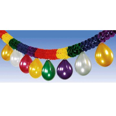 Feestelijke papierenslinger met ballonnen. Zowel de slinger als de ballonnen hebben verschillende kleuren. De lengte van de slinger is ca. 4 meter.