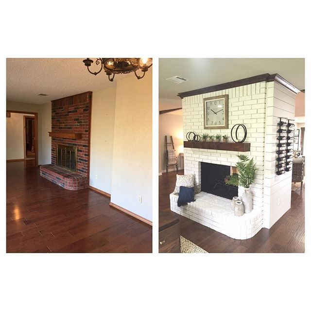 Before and After ❤️ We knocked down the walls on both sides of the fireplace, painted the brick (pure white by SW), planked the sides and added some crown Love how the fireplace becomes the main focal point for this entire space now  #shanty2chic #beforeandafter
