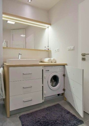 Hide the washer and dryer. Not necessarily in the bathroom.
