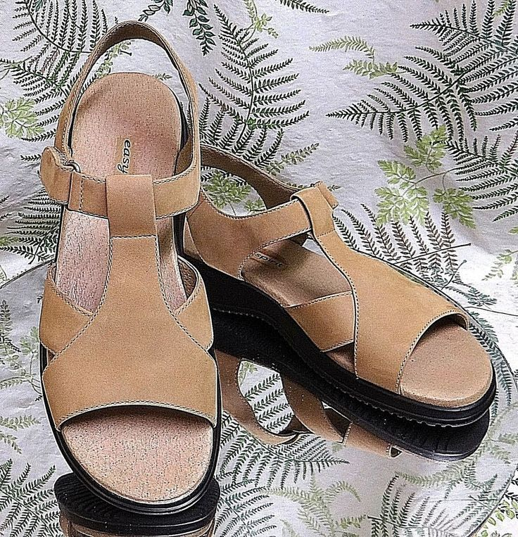 EASY SPIRIT BROWN LEATHER ANKLE T STRAP DRESS SANDALS SHOES US WOMENS SZ 8.5 N #EasySpirit #Slides #Casual