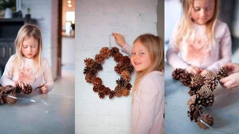 JULEKRANS: Denne julekransen kan ungene lage helt selv. Og det du trenger har du rett i nærheten.