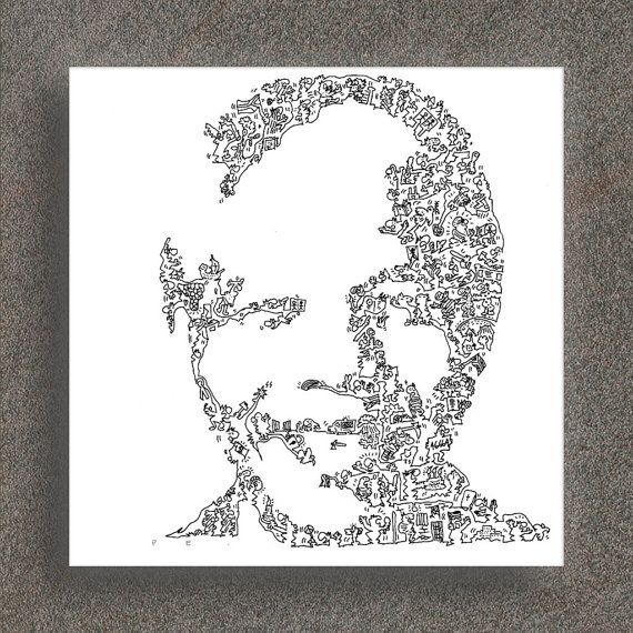 """Nelson Mandela - drawing of Madiba - South Afrika Portrait - Intricate doodle picture - Ltd Edition of 100 - 8"""" x 8"""""""