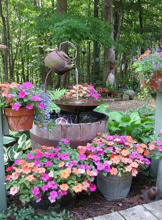 Upcycled Garden Fountain Ideas