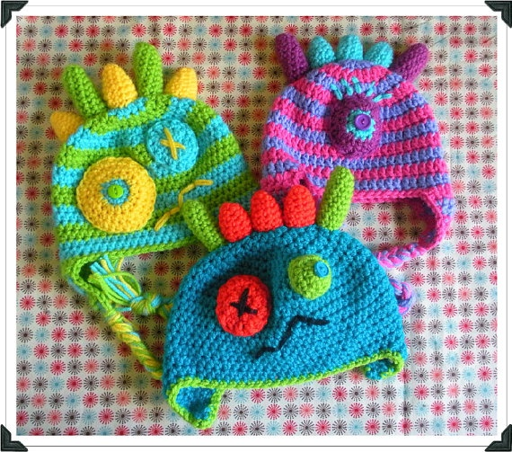 crochet monster hat. Omg..these are TOO cute! I am learning how to crochet and I will have to make these.