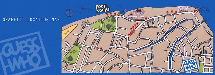 Fort Kochi Graffiti map. Walk through this way to experience Kochi's own street art by Guess Who.