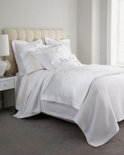 Matouk Marcus Collection Diamond Jacquard Sheet Sets Bedlinens Bed Linens Linen Bedding Top