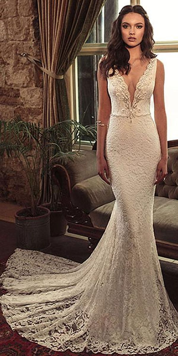 3a65277813695 Alluring Lace & Satin V-Neck Mermaid Wedding Dresses With Beaded Embroidery