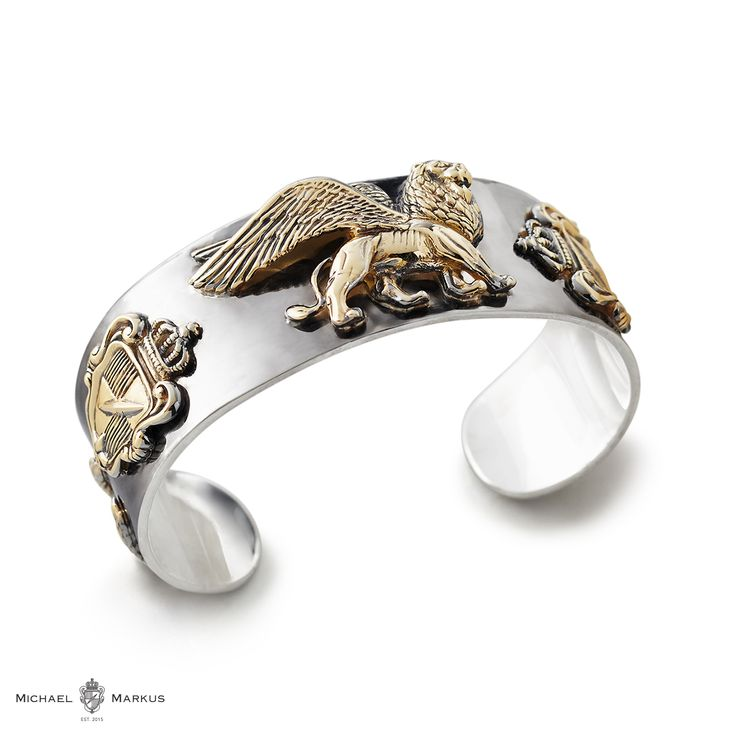 LEO - Stands proud and guards the true hero - 925 sterling silver cuff | 18k yellow gold elements | black diamond accents | black rhodium plating with polished elements