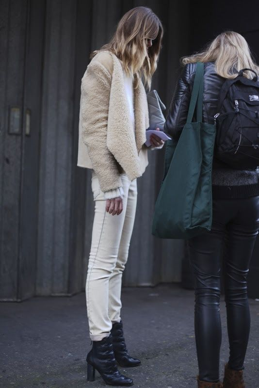 Street Style shearling jacket with white jeans