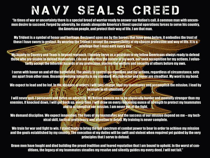 Navy SEAL Creed | us navy seals creed poster featuring the navy seals creed on a black ...