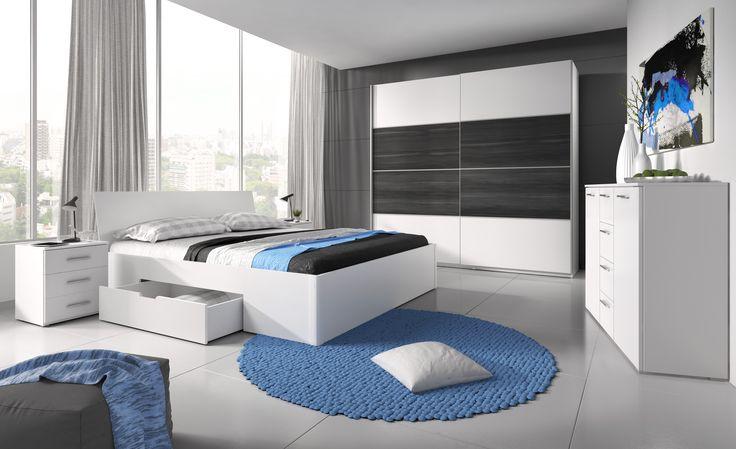 A snowy whiteness is a dominating colour. The bedroom consists of the big and capacious sliding wardrobe, two bedside tables and the luxurious bed. SALE%%% Dominującym kolorem jest śnieżna biel. Sypialnia składa się z dużej i pojemnej szafy przesuwnej, dwóch stolików nocnych i komfortowego łóżka. PROMOCJA%%% #mebledosypialni #meblesypialniane #bedroom #bed #helvetia #mirjan24 #wardrobe #blackwhite