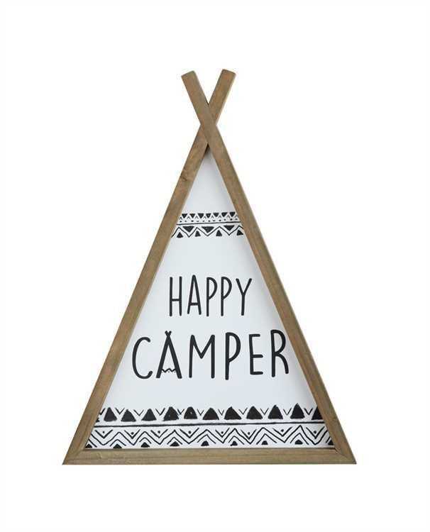 """Pine Wood Framed """"Happy Camper"""" Teepee Wall Décor. Visit The Shop at Snazzy Little Things #shop #shopsnazzylittlethings #homedecor #tribal #kids #glamping"""