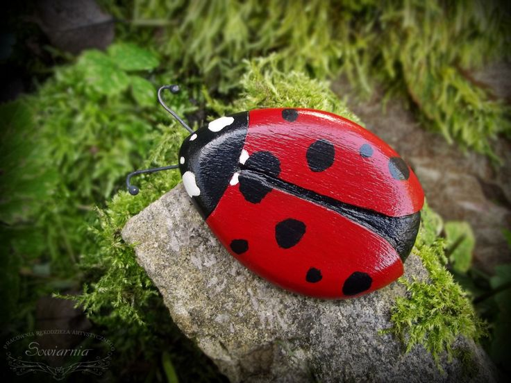 Wooden handpainted ladybug