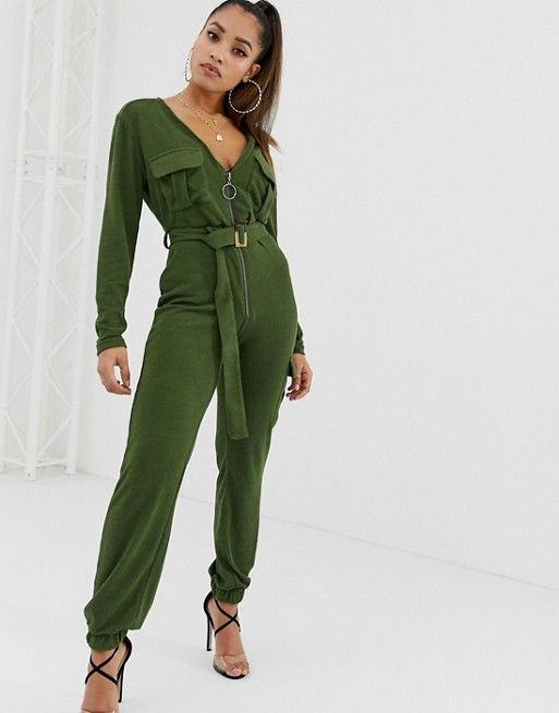 0fc373ffe6 Boohoo Petite knitted zip through utility jumpsuit with belt in ...