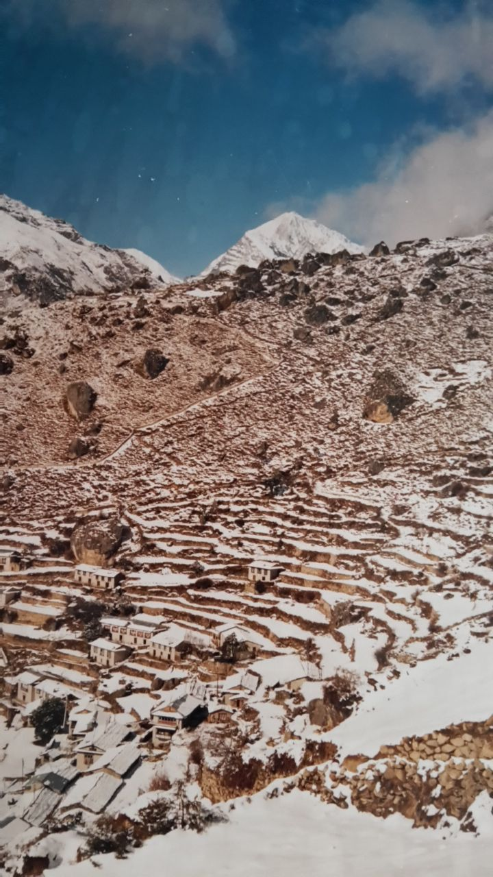 Namche Bazaar in the Khumbu Region near Mount Everest. After the snow storm of 1986...