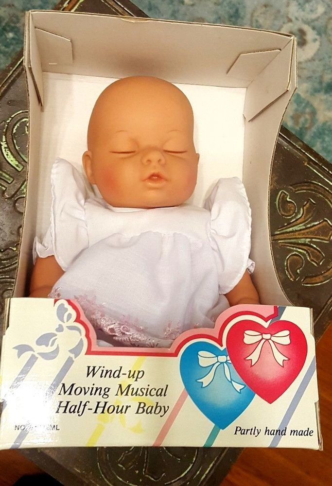 LISSI DOLL PINK DRESS Wind-up Moving Musical Half-Hour Baby Two Hearts in Box #Lissi