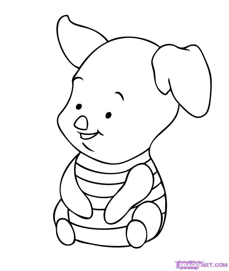 disney cartoon characters coloring pages draw baby piglet step by