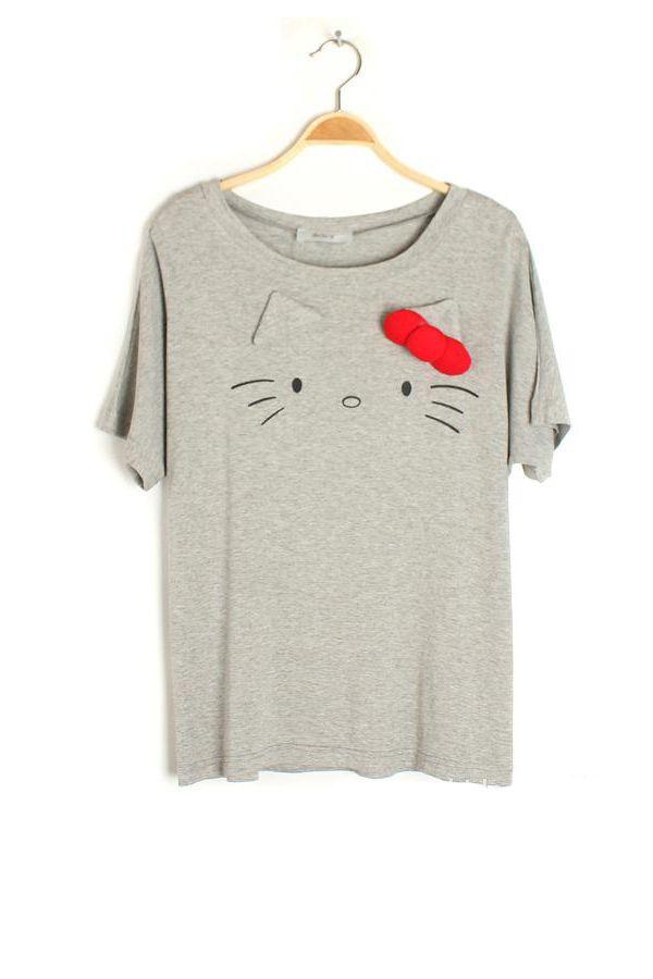 kity cat cartoon pattern loose T-shirt(3colors)_semi sleeve T-shirt_T-Shirt_CLOTHING_Voguec Shop