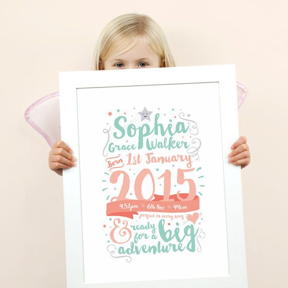 Nursery Art - Celebration Birth Announcement - Birth Print  This beautiful typographic birth print, would make the perfect personalised gift for