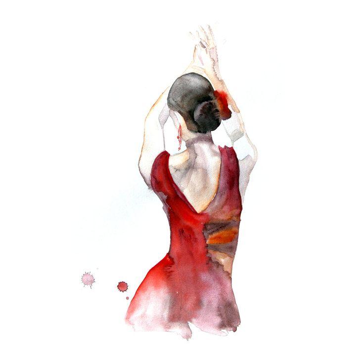 Flamenco dancer original watercolor painting 13x19 dance for Pinterest obras de arte