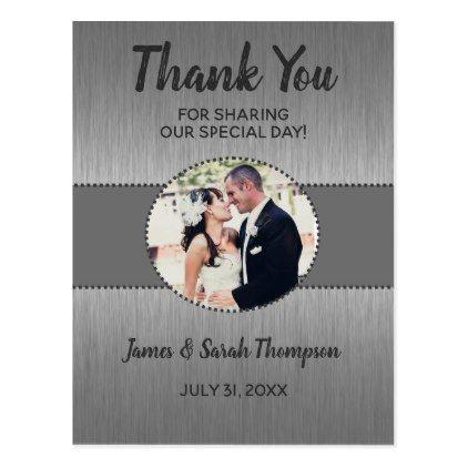 Grey and Silver Wedding Photo Thank You Cards - photos gifts image diy customize gift idea
