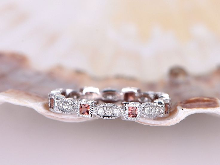 garnet wedding bandgarnet and diamond wedding ringsh i natural diamond engagement ringdiamond promise ringgarnet ring14k white gold