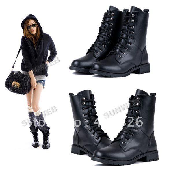 Moda feminina PU de couro fresco militar do exército Preto PUNK Cavaleiro Lace-up botas curtas Shoes frete grátis 7936 26.78