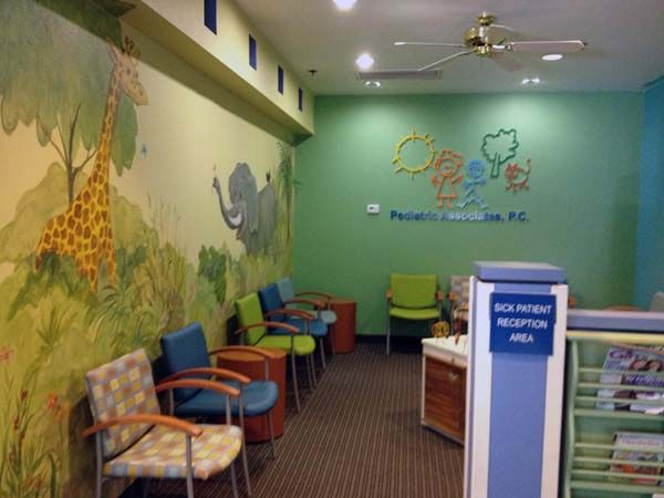 Beth Katz, KatzDesignGroup was hired to select paint and flooring for the clinical/public spaces of Pediatric Associates. Sounds easy…BUT we were to keep the existing millwork counters, cabinets and cushions within each exam room. Every room's millwork was unique and coordinated with the original 1980's wallpaper. We came up with new themes per each exam room and a new paint concept. All the paints had to work with the overall theme of the public corridors. 34 paints in all.