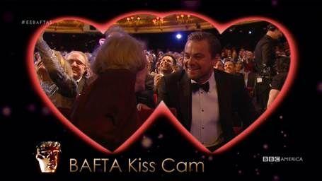 Maggie Smith, Leonardo DiCaprio share kiss cam moment at BAFTAs