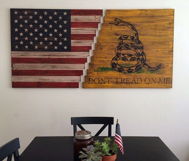 Planked American/Gadsden Flag Wall Art