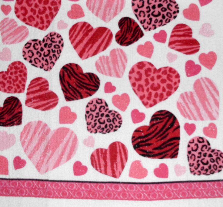 Kitchen Dish Towels W Crochet Tops Listing # T434 Valentine'S Day Love Hearts