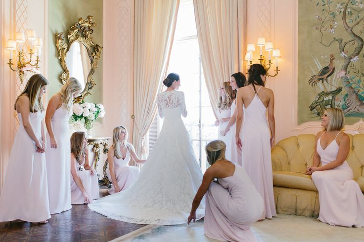 We got ready at The California Club in The French Room, one of my most favorite rooms in the world. I love the beautiful antiques and soft colors, which went perfectly with my bridesmaids' custom dresses by Galvan.