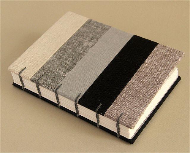 Patchwork Linen coptic stitch journal by Zoopress studio, via Flickr