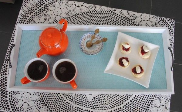 Easy DIY idea - afternoon tea serving tray made from a photo frame and wrapping paper.