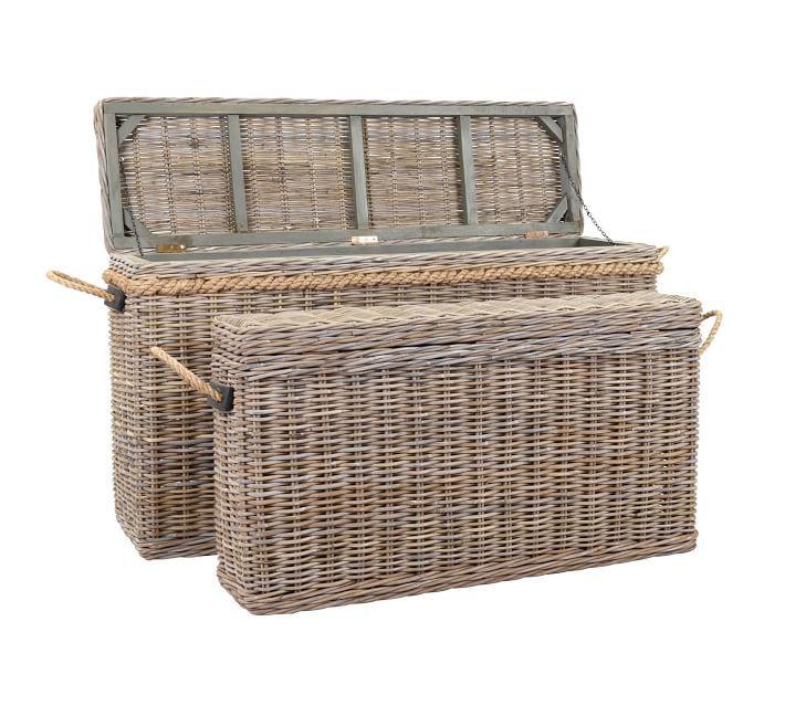 Rattan Oversized Lidded Basket Set Of 2 Teak Storage Wicker Storage Trunk Storage Baskets