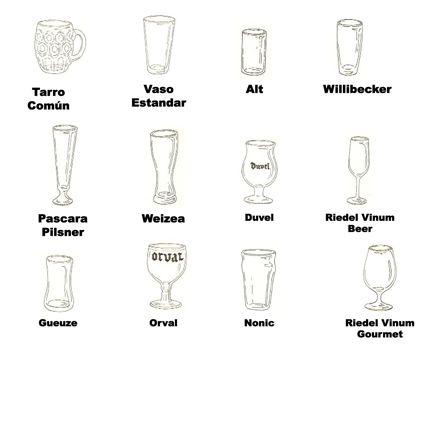 copas y vasos para tomar cerveza