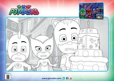 PJ Masks Birthday Colouringin Page Printable Bub Hub