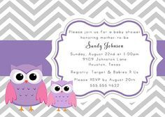 lavender and gray baby shower | PRINTABLE Gray and Purple Chevron Baby Owls Baby Shower Invitation ...