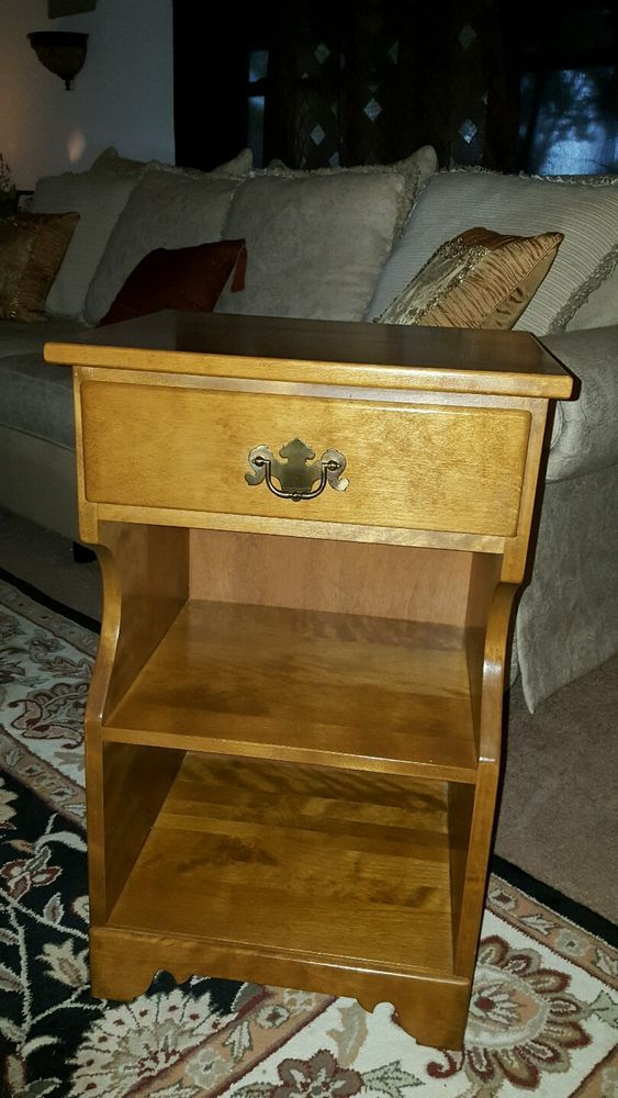 ☆ethan Allen By Baumritter Maple Nightstand End Table 1